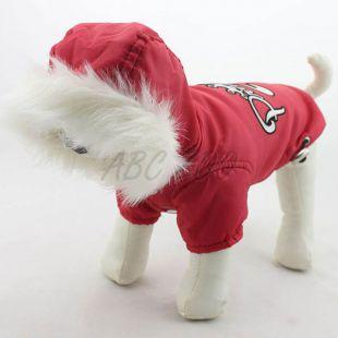 Télikabát kutyának, kapucnis - piros, S