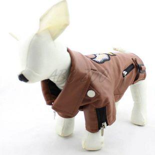 Kutyakabát, műbőr - barna, sas mintával, XXS