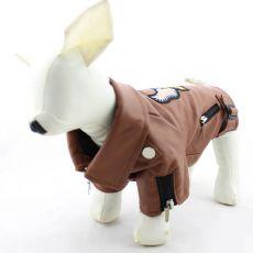 Kabát kutyáknak, műbőr - barna, sas mintás, M