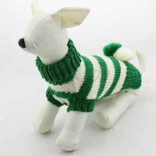 Kötött pulóver kutyáknak - zöldes-fehér színű, M
