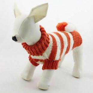 Narancssárga - fehér színű pulcsi kutyusoknak - kötött, L