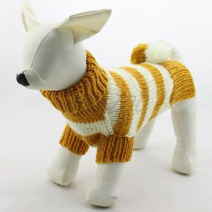 Kutyák számára megfelelő pulóver - kötött, sárgás - fehér, M
