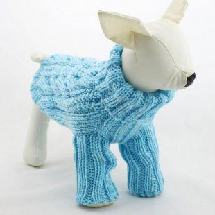 Garbó pulóver kutyának - kötött, kék, L
