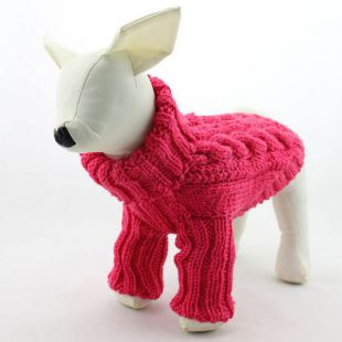Kutya pulóver - kötött, sötétrózsaszín, M