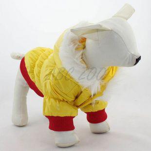 Kabát kutyák számára, kapucnival, piros - sárga, XXS