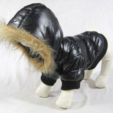 Kutya kabátka - fekete színű, kapucnival, XS