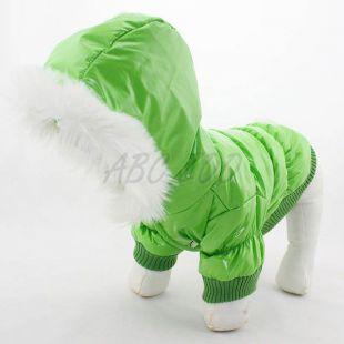 Kutya télikabát - zöld, kapucnis, XL