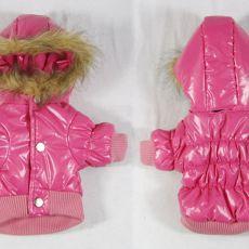 Kutyának télikabát - rózsaszín, kapucnival, XL