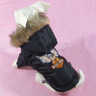 Kabát kutyák részére - fekete, sas mintával, XXL