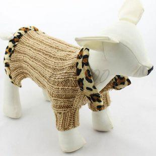 Kötött pulóver kutyának - barna színű, leopárd, XS