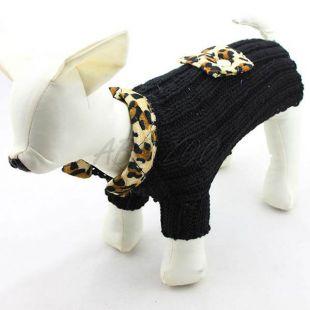 Kötött pulóver kutyáknak - fekete színű, leopárd mintás, XL