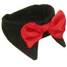 Kutya csokornyakkendő, nagy - piros, gallérral, L - XS