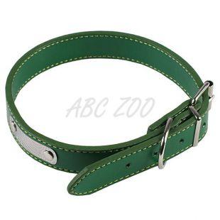 Műbőr nyakörv kutyának - zöld, 35 cm