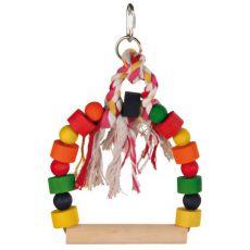 Madár játék - színes hinta kötéllel, 20 x 29 cm