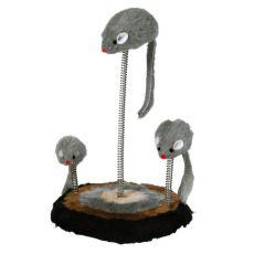 Macska játék - egerek rugón, 15x22cm
