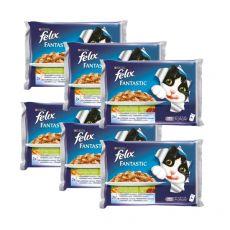 Alutasakos macskatáp FELIX - hal zöldséggel aszpikban, 6 x 400 g