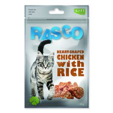 Jutalomfalatok RASCO - rizs és csirkehús szívecskék, 80 g