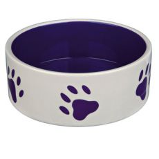 Kerámia kutyatál - lila színű, tappancs mintával - 1,4 l