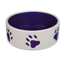 Kerámia edény kutyának - lila tappancs mintával, térfogat 0,8 l