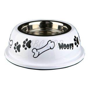 Kutyáknak való edény műanyag tálkatartóval, fehér - 0,25 L