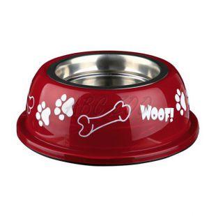 Kutyáknak való edény műanyag tálkatartóval, piros - 0,9 L