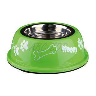 Kutyáknak való edény műanyag tálkatartóval, zöld - 0,9 L