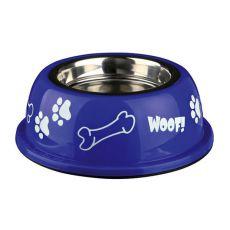 Kutyáknak való edény műanyag tálkatartóval, kék - 0,9 L