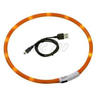 Világító LED nyakörv kutyusoknak - 45 cm, narancs