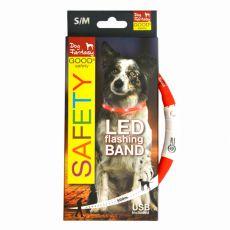 Világító LED kutyanyakörv - 45 cm piros