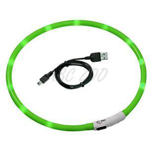 Villogó LED nyakörv - 70 cm zöld