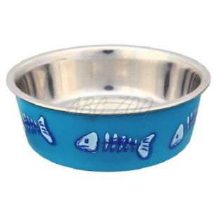 Fém tálka műanyag bevonattal - kék - 0,3l, 12cm
