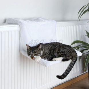 Fűtőtest ágy macskáknak, fehér plüss - 45x24x31