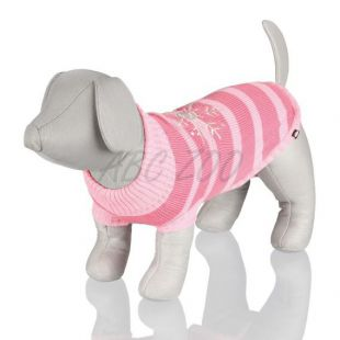 Kutyapulóver, rózsaszín csíkos - XS / 25cm