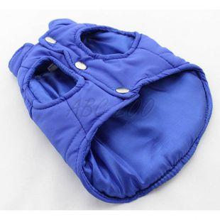 Kutyamellény - steppelt kék színű, XL