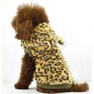Szőrmekabát kutyáknak - leopárd mintás csuklyával, arany, L