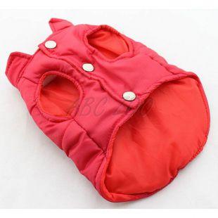 Kutyamellény - steppelt piros színű, L