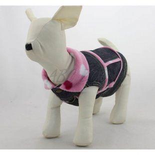 Farmer kutyamellény - rózsaszín szívecskék, XL