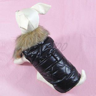 Kutyamellényke fekete szőrmével - XL