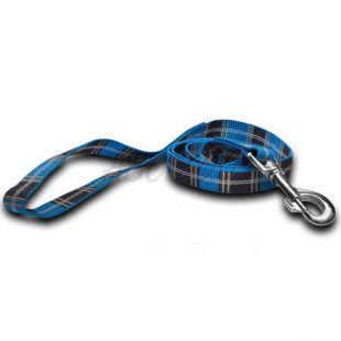 Nylon kutyapóráz - kék kockás 2 x 120 cm
