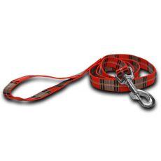 Nylon kutyapóráz - piros szürke kockás 1,6 x 120 cm
