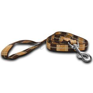 Nylon kutyapóráz - barna kockás  1,6 x 120 cm