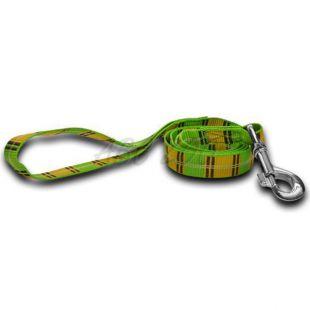 Nylon kutyapóráz - zöld sárga kockás 1,6 x 120 cm
