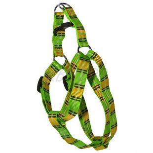 Hám kutyáknak - zöld sárga kockás M 2 x 40-60 cm
