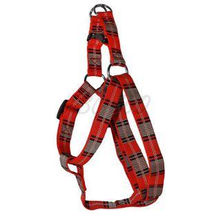 Hám kutyáknak - piros szürke kockás, M 2 x 40-60 cm