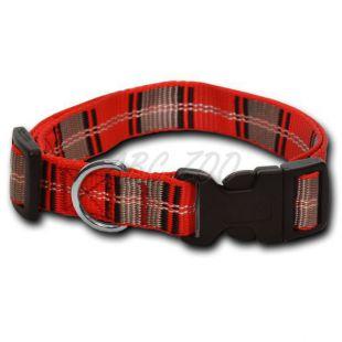 Nylon kutyanyakörv - kockás pirosas szürke 1,6 x 20-32 cm