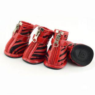 Kutyacipő - piros zebra mintás, XL