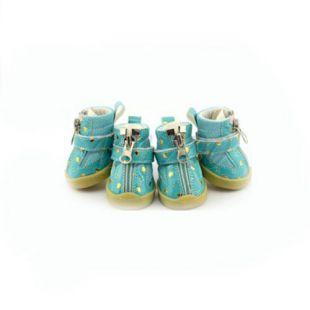 Kutyacipő - kék, szivecskékkel  - cipzáros, XL