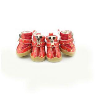 Kutyacipő - piros, szivecskékkel  - cipzáros, XS