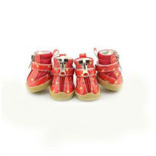 Kutyacipő - piros, szivecskékkel - cipzáros, XL