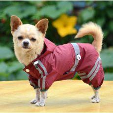 Fényvisszaverő esőkabát kutyáknak - sötétbordó, XS
